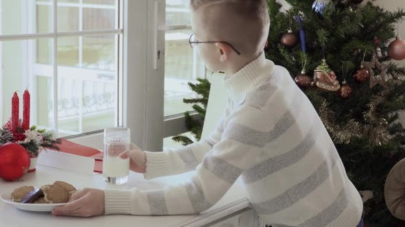 Thumbnail for Boy Bring Cookies and Milk and Start To Write Letter To Santa Clause