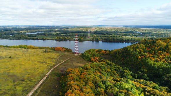 Thumbnail for High Voltage Transmission Towers on River Banks