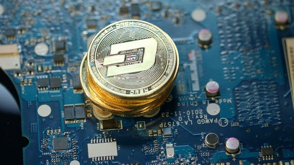 Virtual Cryptocurrency Business Gold Dashcoin on Circuit Board