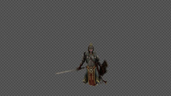 Thumbnail for Female Woman Soldier Holding Sword And Shield Die Pack 4In1