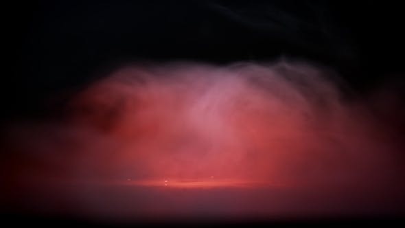 Thumbnail for Water Drops in Orange Light and Cloud of Fog or Smoke. Red Liquid Droplets