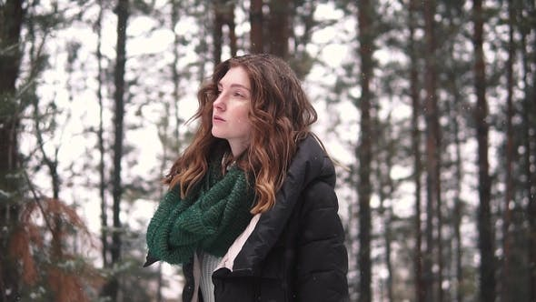 Thumbnail for Portrait of a Strange and Mysterious Red-haired Girl in a Winter Forest