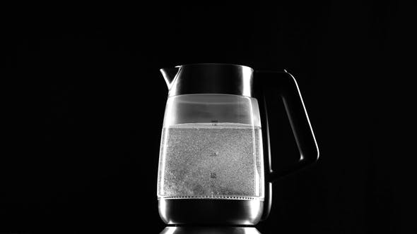 Thumbnail for Turn on the Electric Kettle, It Boils. Black Background