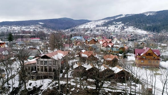 Thumbnail for Aerial View of Carpathian Mountains in Winter, Yaremche, Ukraine.
