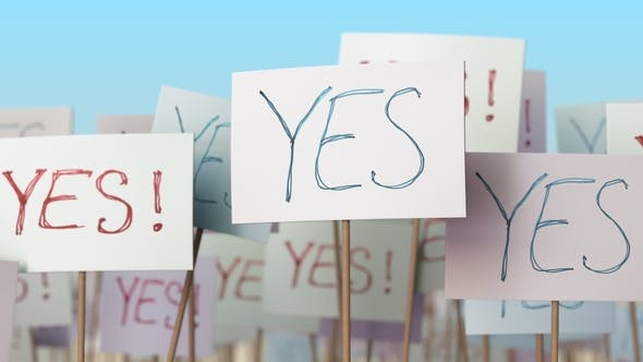 Thumbnail for YES Placards at Street Demonstration