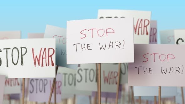 Thumbnail for STOP WAR Placards at Street Demonstration