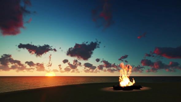 Thumbnail for Bonfire on the Beach at Sunset