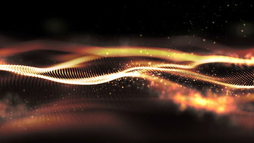 Futuristic Digital Gold Abstract Particles 02