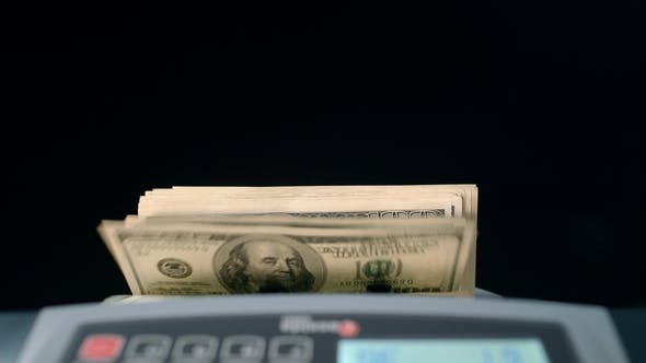 Thumbnail for Banknote Counter Counting Dollar Bills. Money Counting Machine. Business Success