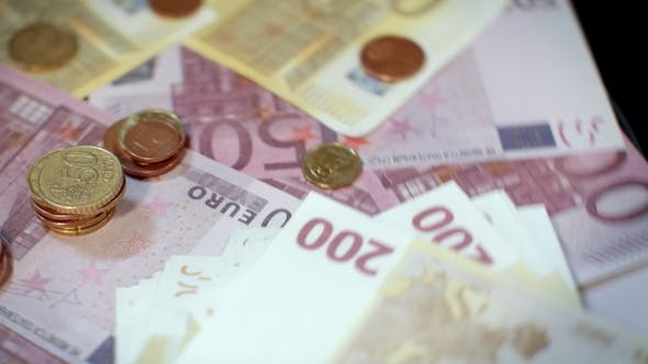 Thumbnail for Rotating Euro Banknotes and Coins