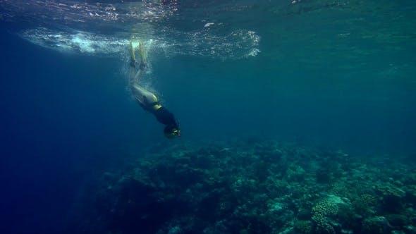 Thumbnail for Freediver Girl Diving Deep