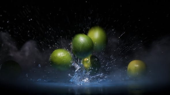 Cover Image for Lime Citrus Fruits Falling on Water Surface in Blue Light Spot and Cloud of Fog with Splash Drops