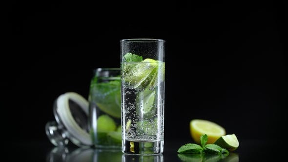 Cover Image for Fresh Lemonade Lime Lemon and Mint in Sparkling Water. Fresh Citrus Non Alcoholic Mojito Cocktail