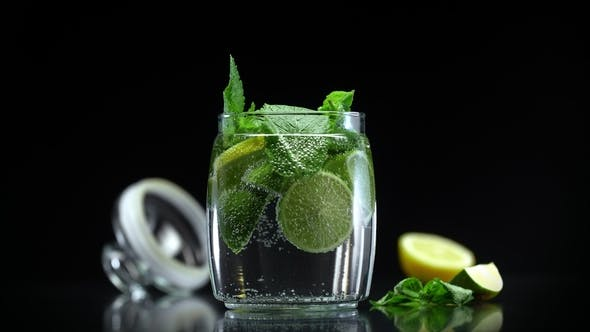 Cover Image for Citrus Mojito Lemonade with Lime Lemon and Mint in Cold Sparkling Water
