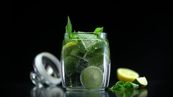 Thumbnail for Mojito Cocktail Citrus Lemonade with Lime Lemon and Mint in Cold Sparkling Soda Water
