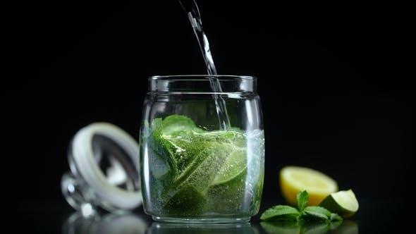 Thumbnail for Refreshing Lemonade with Lime Lemon Mint Sparkling Soda Water. Citrus Non Alcoholic Mojito Cocktail