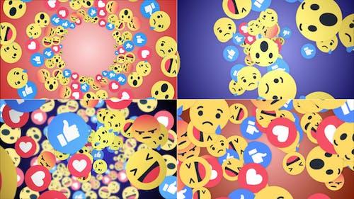 Four Falling Social Network Emoji (4 Videos)