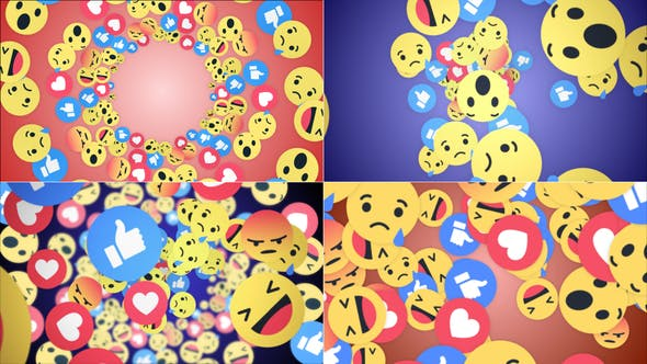 Four Falling Social Network Emoji (4 Videos)