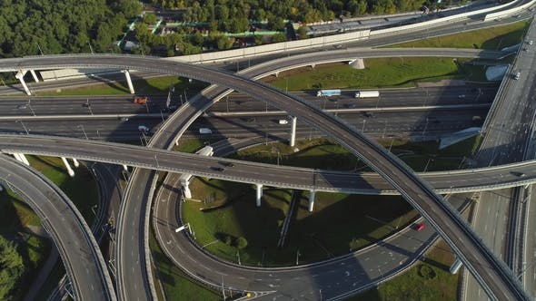 Thumbnail for Multi-Level Road Interchange and Cars Traffic at Sunny Day Aerial View