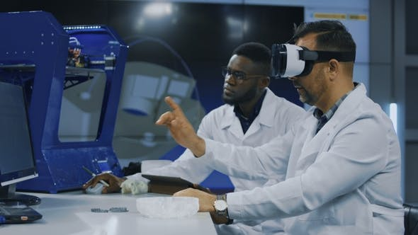 Thumbnail for Scientists Working with 3d Printing and VR