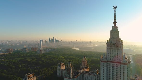 Thumbnail for Moscow State University in the Sunny Morning City in Sunrise Fog