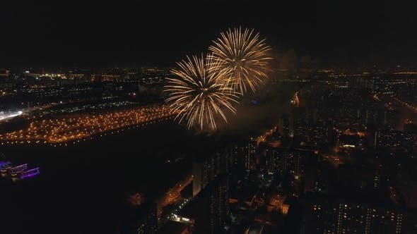 Thumbnail for Fireworks in the City. Aerial View