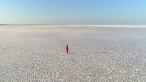 Thumbnail for Lonely Woman in Red Dress Is Walking on White Surface of Huge Salt Lake. Aerial View