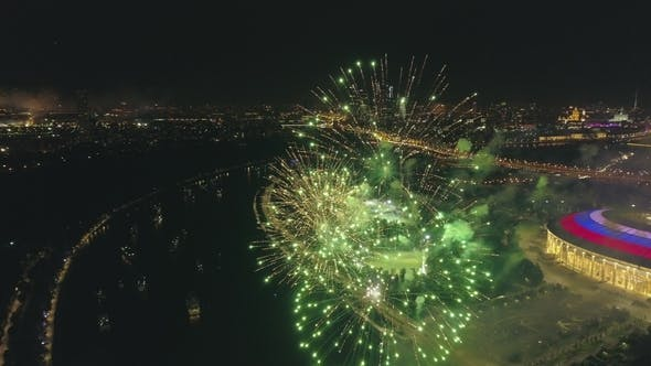 Cover Image for Fireworks Explosion in the City Aerial View