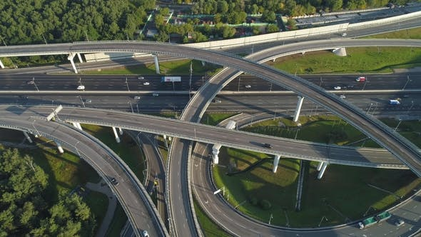 Thumbnail for Multi-Level Road Junction and Cars Traffic. Aerial Vertical View