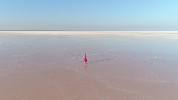 Cover Image for Lonely Woman in Red Dress Is Walking on Water in Huge Salt Lake. Aerial View