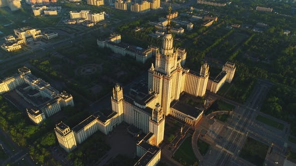 Flying Over Moscow State University Main Campus in the Sunny Summer Morning. Aerial View. Russia