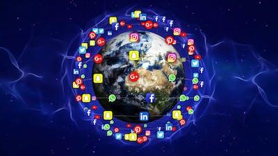 Earth and Social Media Logos
