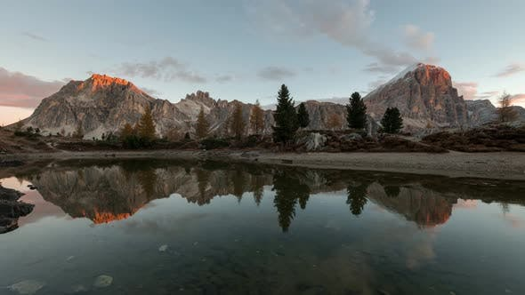 Thumbnail for Sunrise Reflection In The Beautiful Lake Limides In The Dolomites Mountains