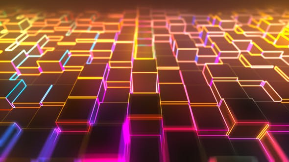 Thumbnail for Abstract Neon Cube Background 01