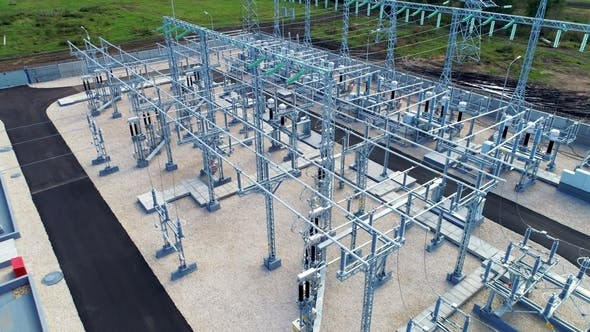 Thumbnail for Substation Distributes Energy Through Wires Attached By Insulators