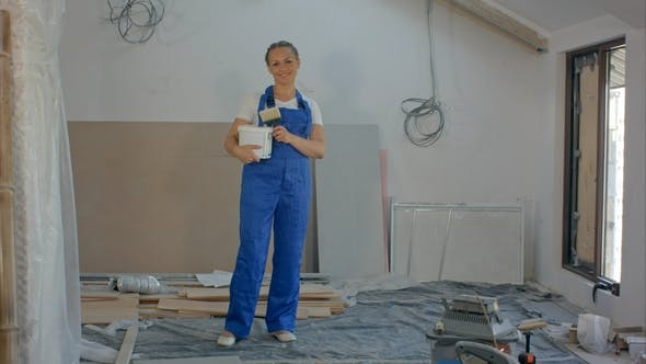 Thumbnail for Engineer Builder Woman Smile at Construction Builder