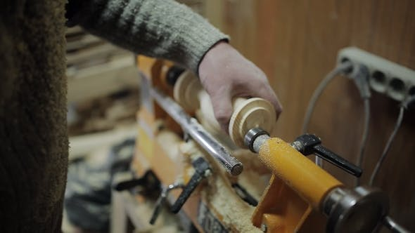 Thumbnail for Sanding Wood on a Lathe. Foot Operated Spring Pole Wood Lathe