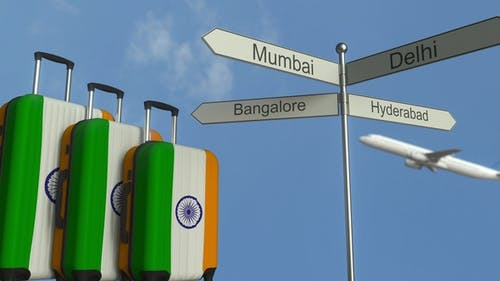 Travel Baggage Featuring Flag of India