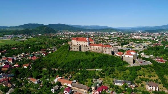 Beautiful Panoramic Aerial View To Palanok Castle in the City of Mukachevo