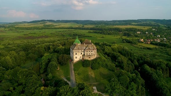 Cover Image for Aerial View of the Olesky Castle. Very Beautiful Castle Near Lviv