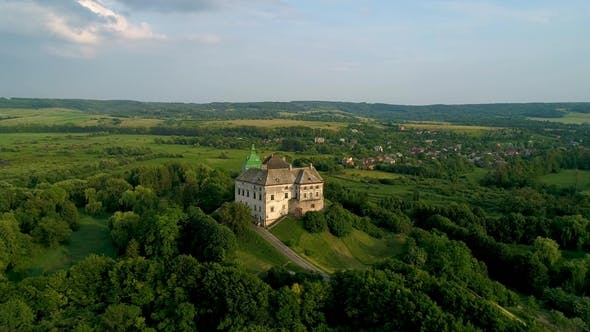 Aerial View of the Olesky Castle Near Lviv