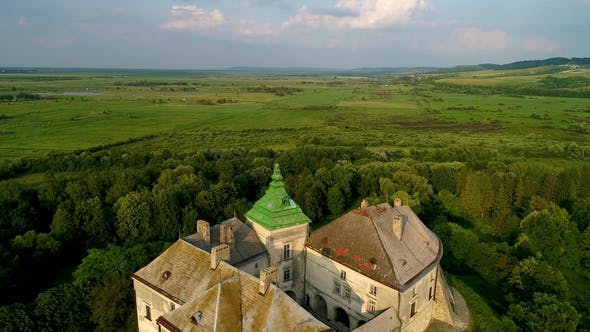 Aerial View of the Olesky Castle. Very Beautiful Castle Near Lviv.