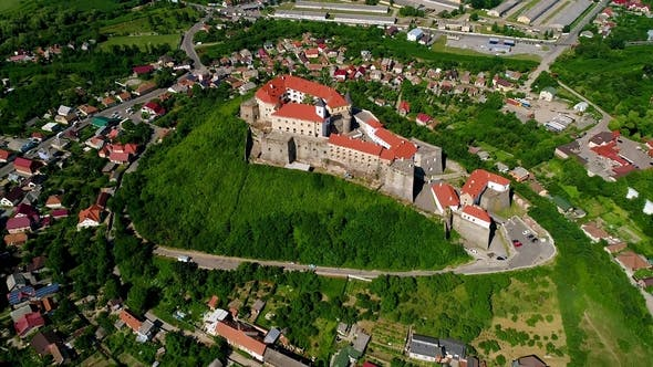 Cover Image for Beautiful Panoramic Aerial View To Palanok Castle in the City of Mukachevo