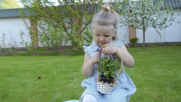 Thumbnail for Cute Little Girl with Basket of Flowers