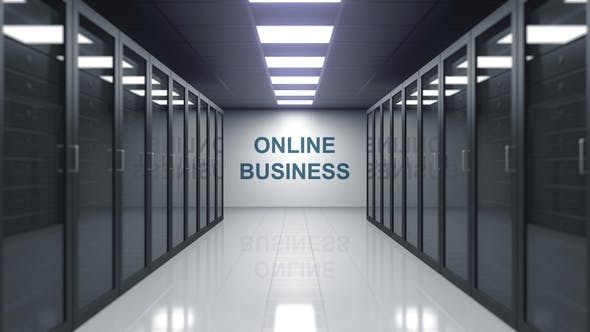 Thumbnail for ONLINE BUSINESS Caption on the Wall of a Server Room