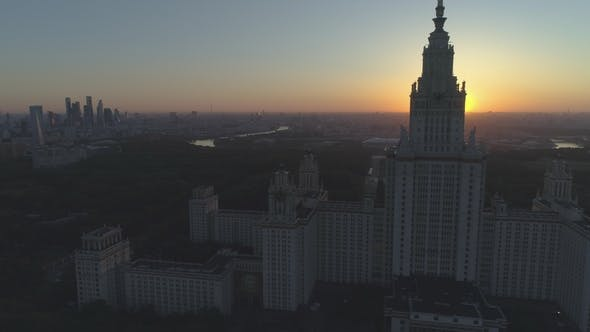 Thumbnail for Moscow State University and City Skyline in Sunny Morning