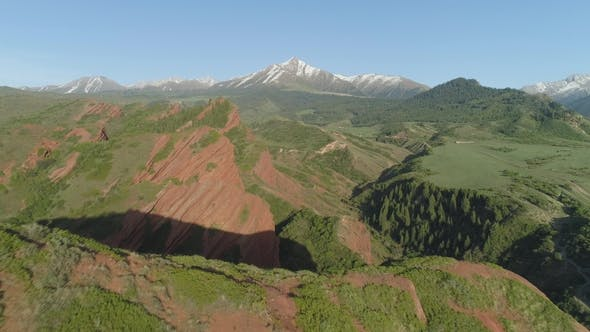 Cover Image for Red Rocks, Coniferous Forest and Mountains on Background. Aerial View