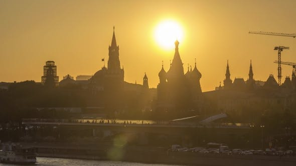 Cover Image for Moscow Kremlin, Saint Basil Cathedral and Zaryadye Park with Floating Bridge at Sunny Evening