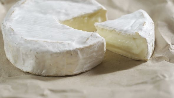 Portion of Rotating Creamy Camembert As Detailed  Footage