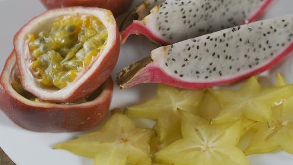 Exotic Fruits on the Table Top View
